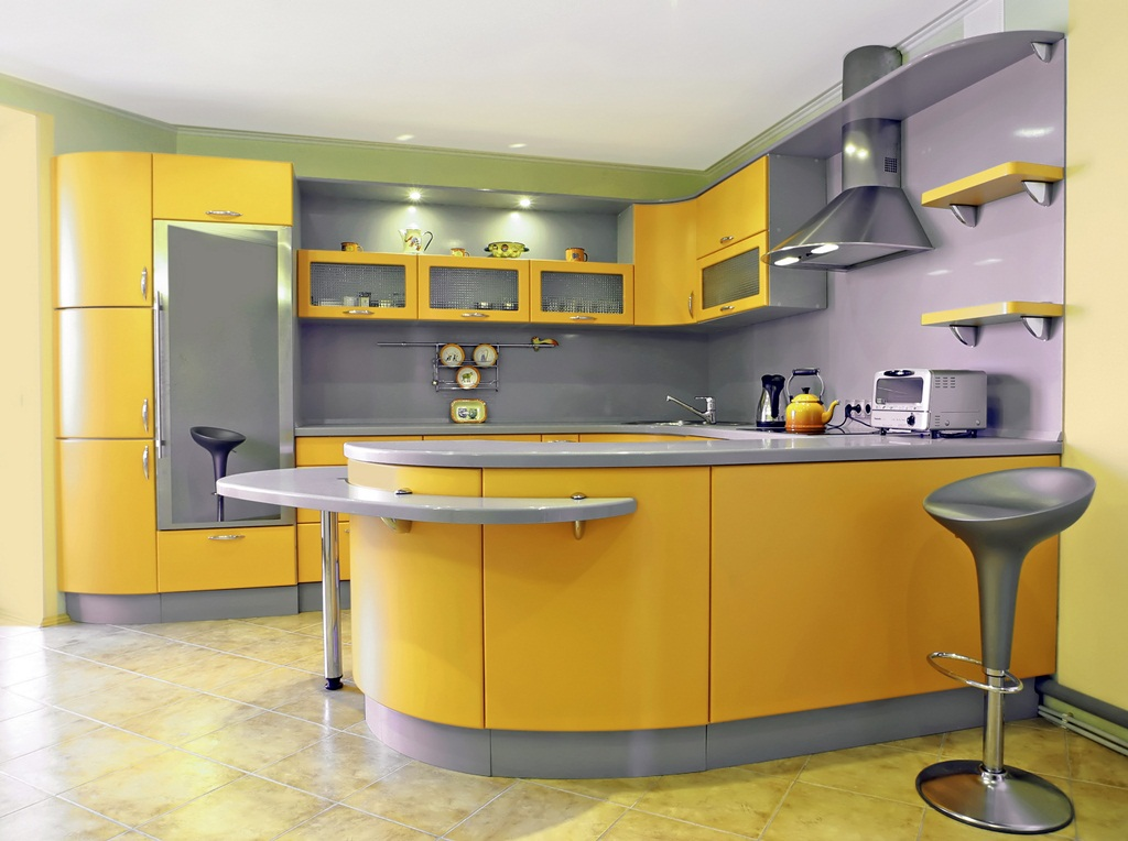 Grey Yellow Kitchens