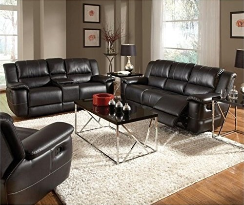 Bowery Hill Transitional Motion Leather Sofa with Pillow Arms in Black Top 10 Sofas for Sale Furniture Stores 2